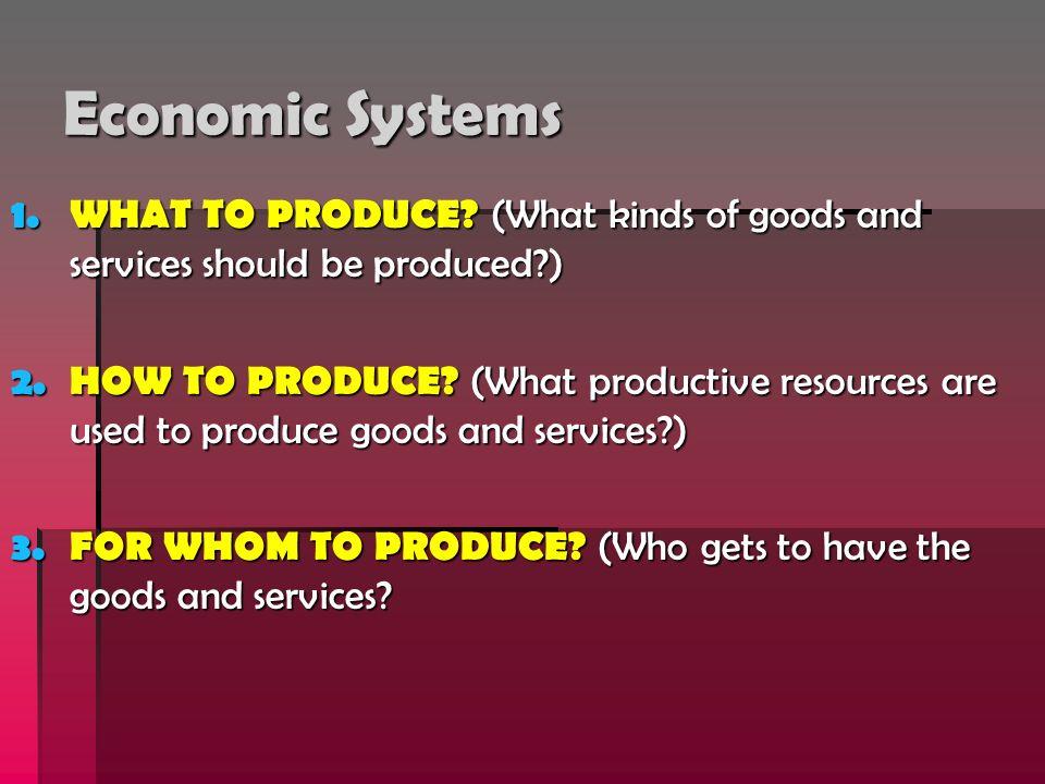 Three Types of Economic Systems: 1.Traditional Economy 1.