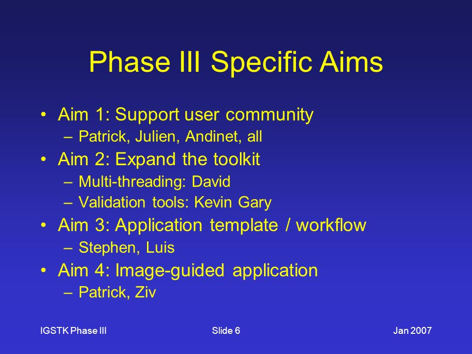 IGSTK Phase IIIJan 2007Slide 6 Phase III Specific Aims Aim 1: Support user community –Patrick, Julien, Andinet, all Aim 2: Expand the toolkit –Multi-threading: David –Validation tools: Kevin Gary Aim 3: Application template / workflow –Stephen, Luis Aim 4: Image-guided application –Patrick, Ziv