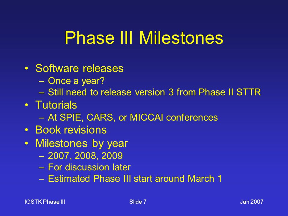 IGSTK Phase IIIJan 2007Slide 7 Phase III Milestones Software releases –Once a year.