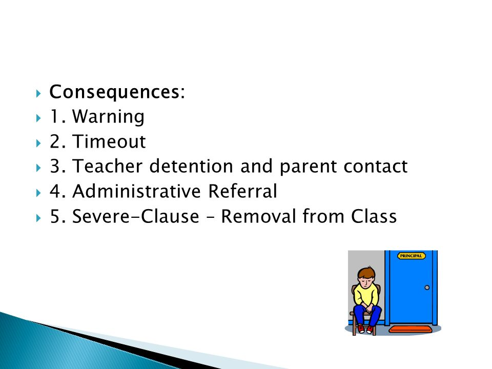 Consequences: 1. Warning 2. Timeout 3. Teacher detention and parent contact 4.