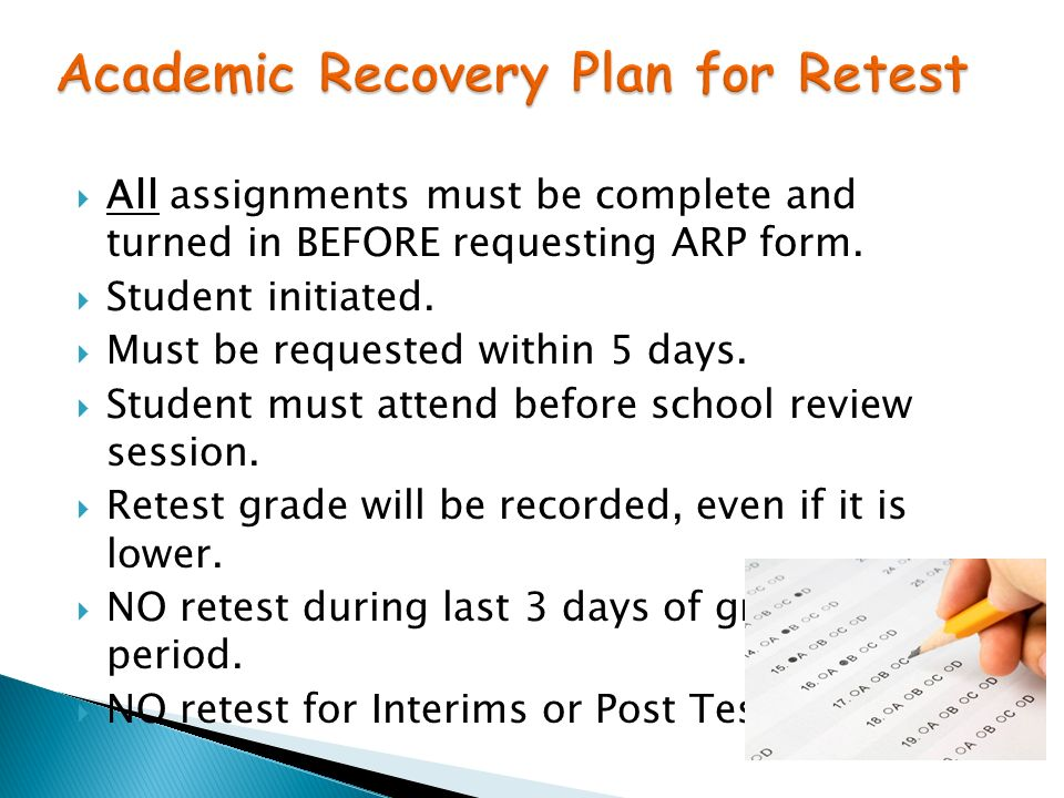 All assignments must be complete and turned in BEFORE requesting ARP form.