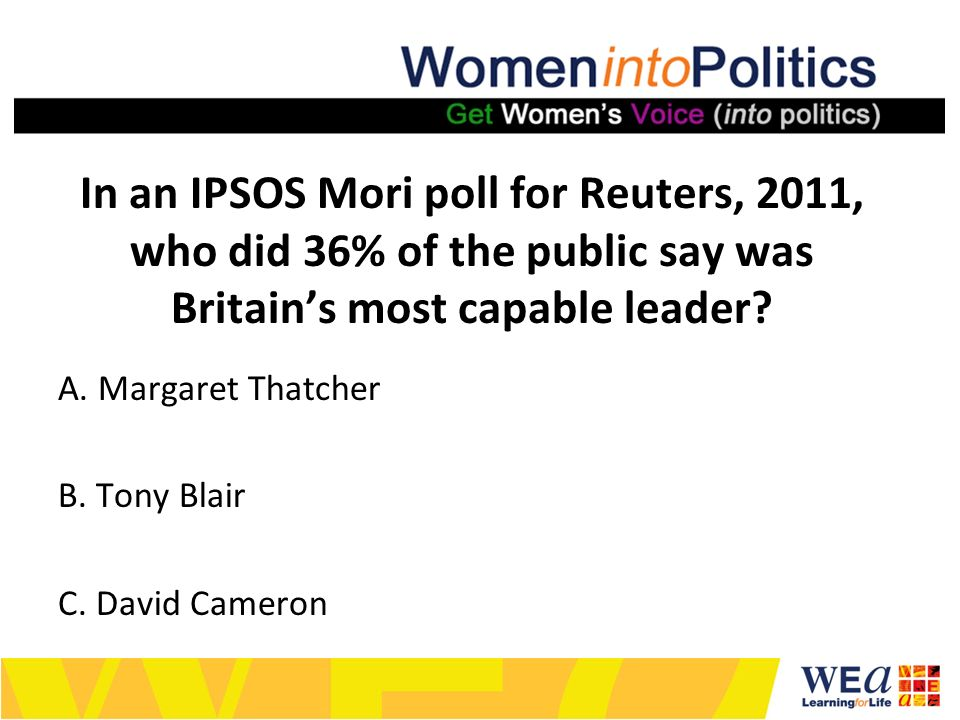In an IPSOS Mori poll for Reuters, 2011, who did 36% of the public say was Britains most capable leader.