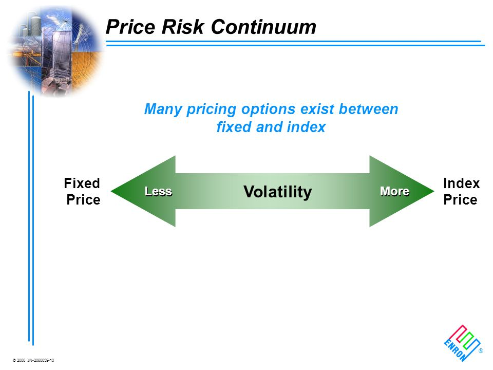 © 2000 JN-2080039-13 ® Fixed Price Index Price Volatility Less More Price Risk Continuum Many pricing options exist between fixed and index