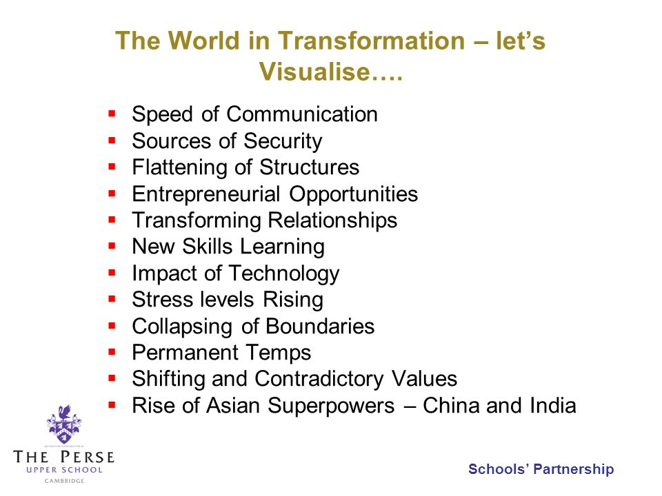 Schools Partnership The World in Transformation – lets Visualise…. Speed of Communication Sources of Security Flattening of Structures Entrepreneurial