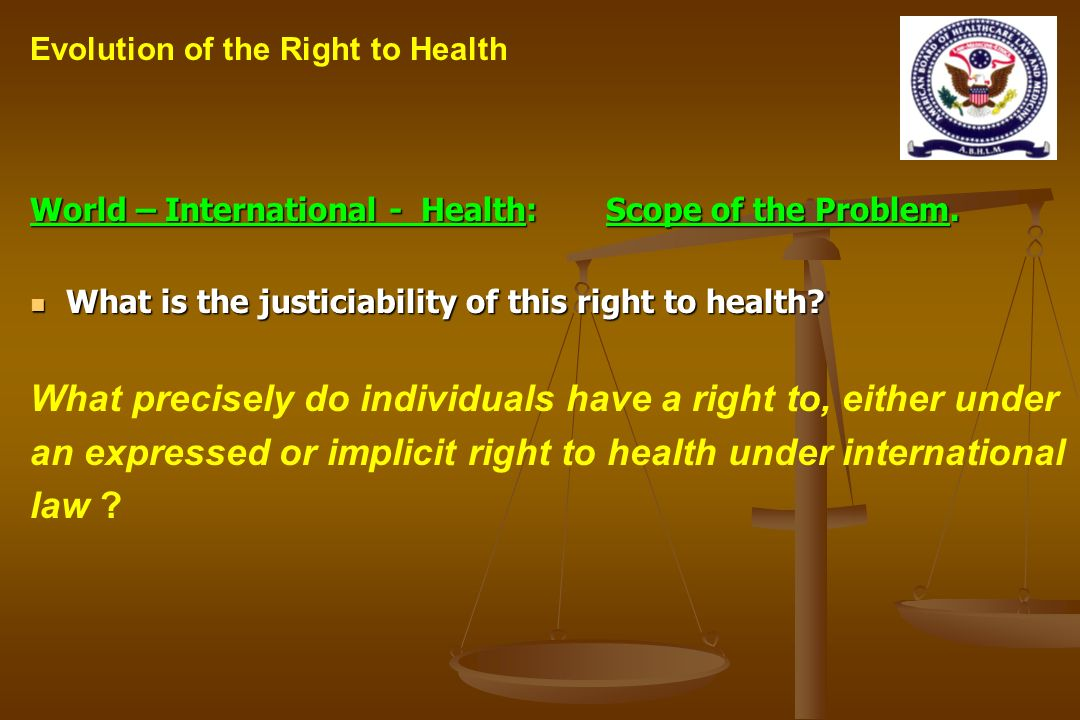 World – International - Health: Scope of the Problem.