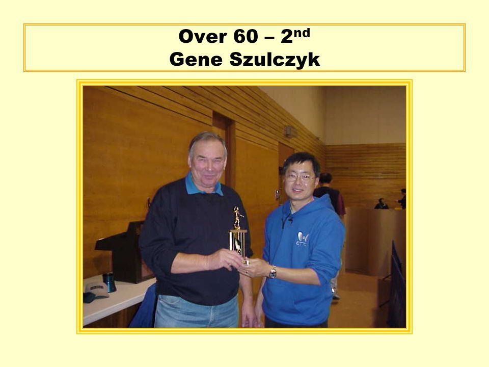 Over 60 – 2 nd Gene Szulczyk