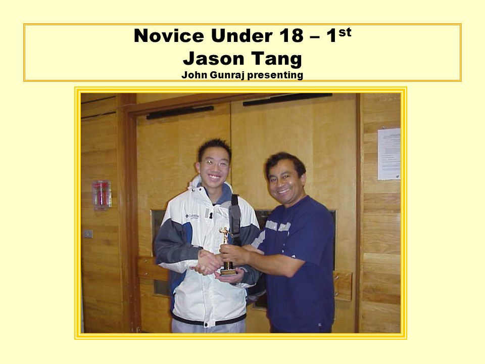 Novice Under 18 – 1 st Jason Tang John Gunraj presenting