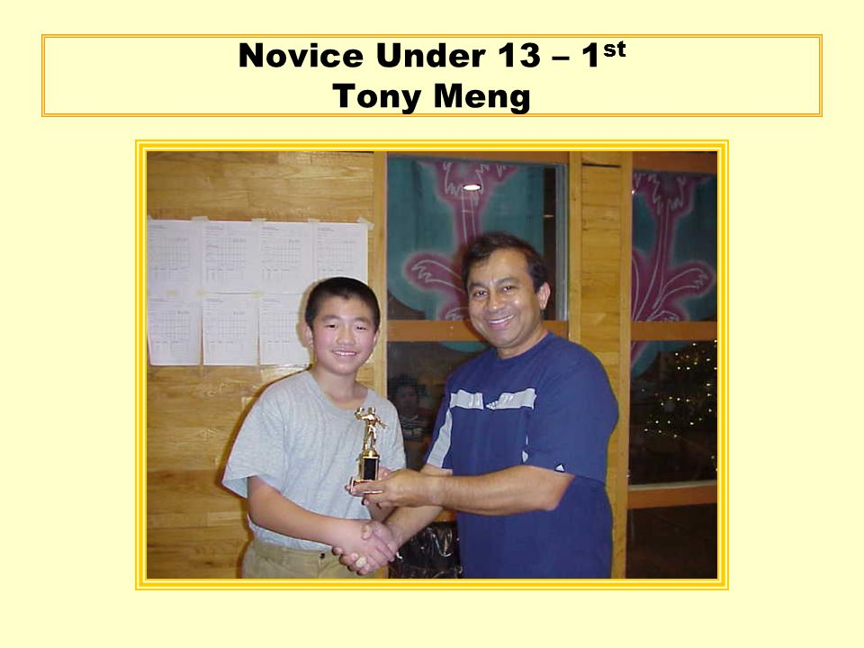 Novice Under 13 – 1 st Tony Meng