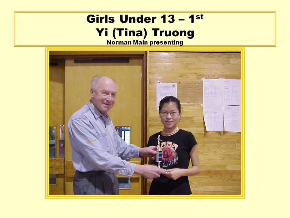 Girls Under 13 – 1 st Yi (Tina) Truong Norman Main presenting