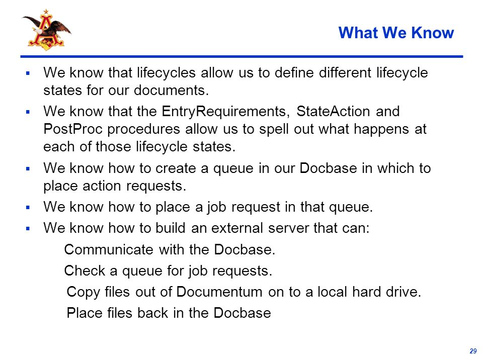 29 What We Know We know that lifecycles allow us to define different lifecycle states for our documents.