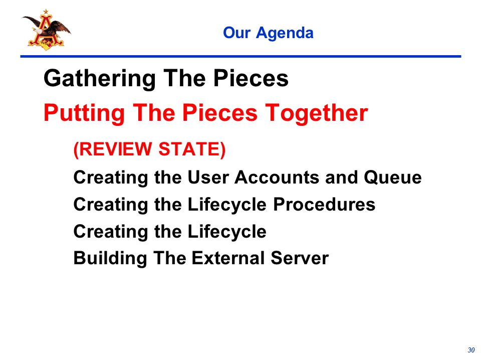 30 Our Agenda Gathering The Pieces Putting The Pieces Together (REVIEW STATE) Creating the User Accounts and Queue Creating the Lifecycle Procedures Creating the Lifecycle Building The External Server