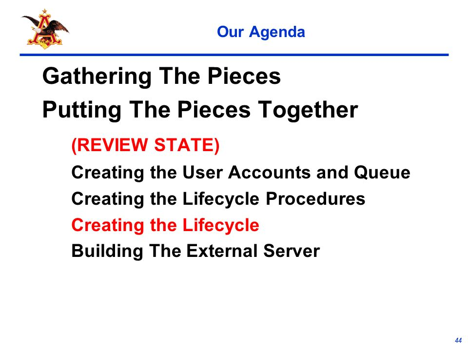 44 Our Agenda Gathering The Pieces Putting The Pieces Together (REVIEW STATE) Creating the User Accounts and Queue Creating the Lifecycle Procedures Creating the Lifecycle Building The External Server