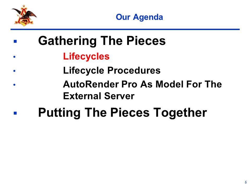 5 Our Agenda Gathering The Pieces Lifecycles Lifecycle Procedures AutoRender Pro As Model For The External Server Putting The Pieces Together