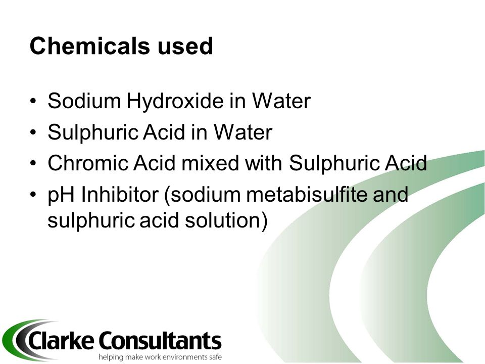 Chemicals used Sodium Hydroxide in Water Sulphuric Acid in Water Chromic Acid mixed with Sulphuric Acid pH Inhibitor (sodium metabisulfite and sulphur