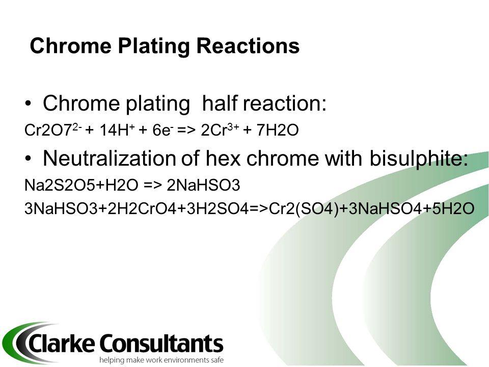 Chrome Plating Reactions Chrome plating half reaction: Cr2O7 2- + 14H + + 6e - => 2Cr 3+ + 7H2O Neutralization of hex chrome with bisulphite: Na2S2O5+