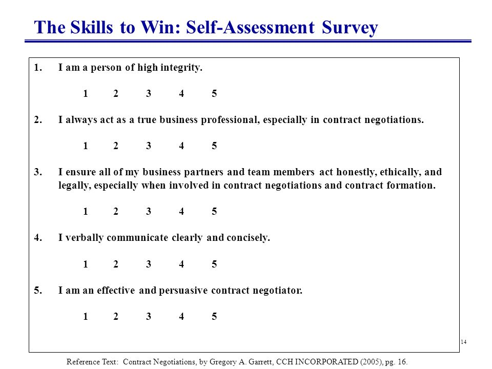 14 The Skills to Win: Self-Assessment Survey 1.I am a person of high integrity. 1 2 3 4 5 2.I always act as a true business professional, especially i