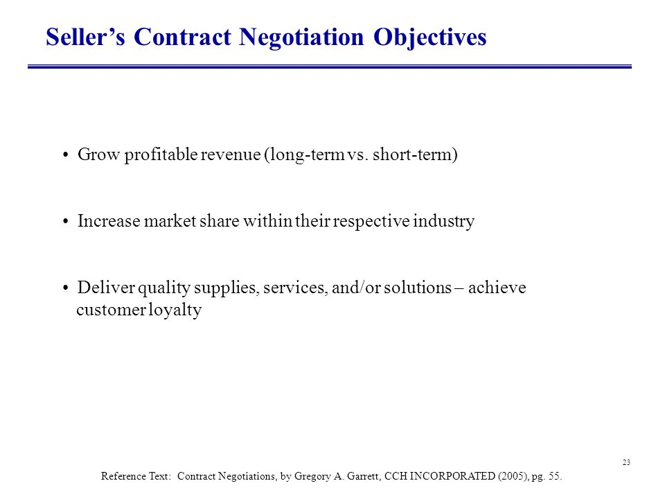 23 Sellers Contract Negotiation Objectives Grow profitable revenue (long-term vs. short-term) Increase market share within their respective industry D
