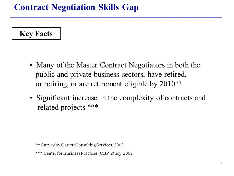 8 Contract Negotiation Skills Gap Key Facts Many of the Master Contract Negotiators in both the public and private business sectors, have retired, or