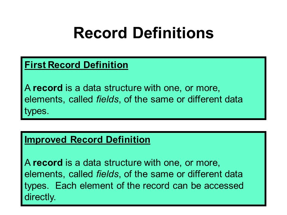 Data Structure Definitions First Data Structure Definition A data structure is a data type whose components are smaller data structures and/or simple