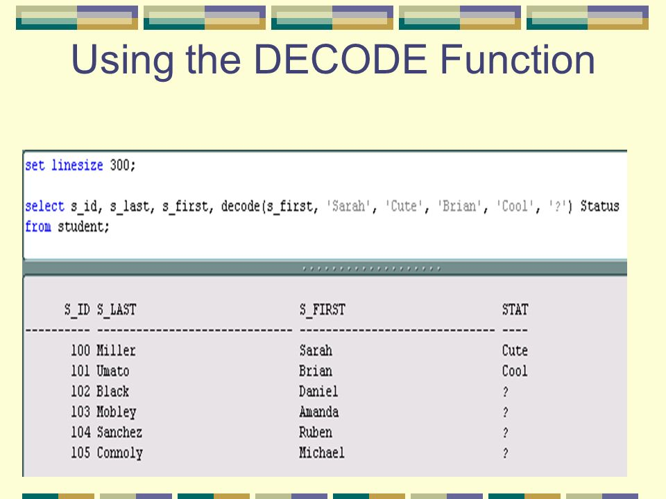 40 Using the DECODE Function