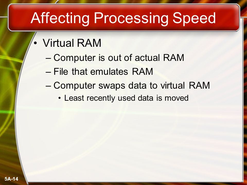 5A-14 Affecting Processing Speed Virtual RAM –Computer is out of actual RAM –File that emulates RAM –Computer swaps data to virtual RAM Least recently