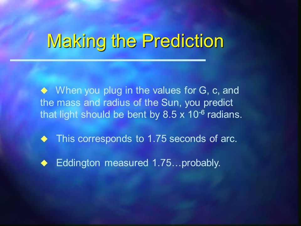 Solving the Equations D D R d d = 1/2 GMD 2 /(c 2 R 2 ) but D=2R and = d/D RESULT: = GM/c 2 R Using GR, we would get 4 GM/c 2 R!