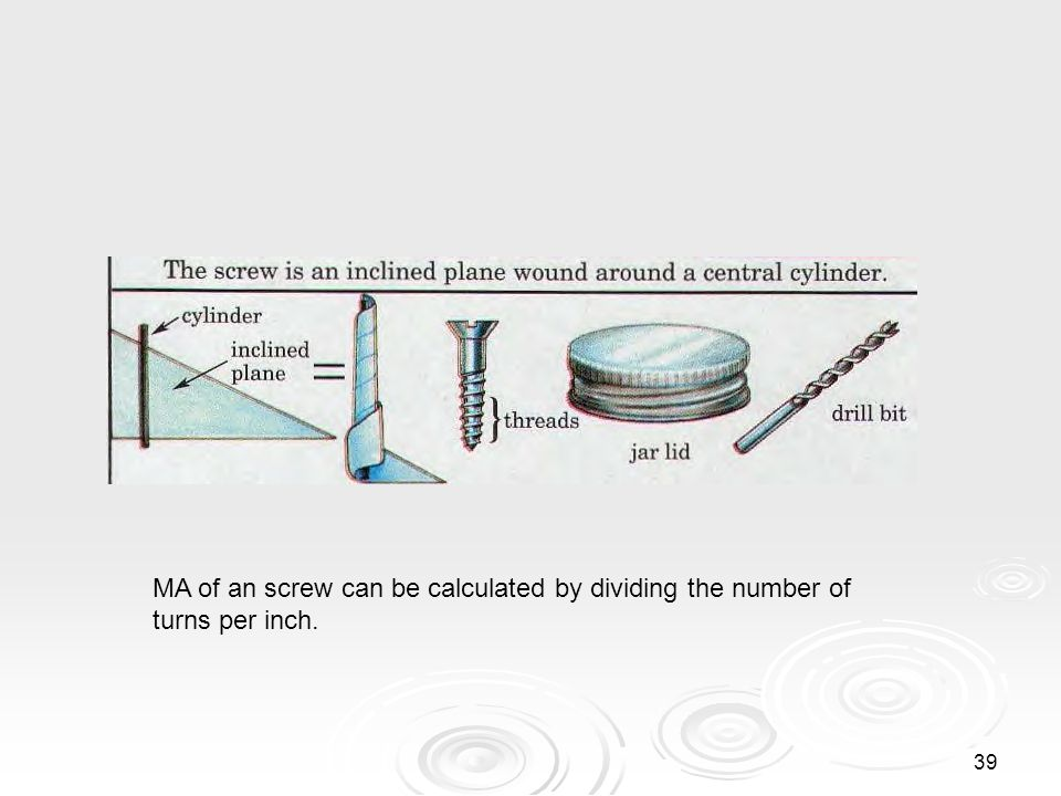 38 Screw The screw is also a modified version of the inclined plane. The screw is also a modified version of the inclined plane. While this may be som