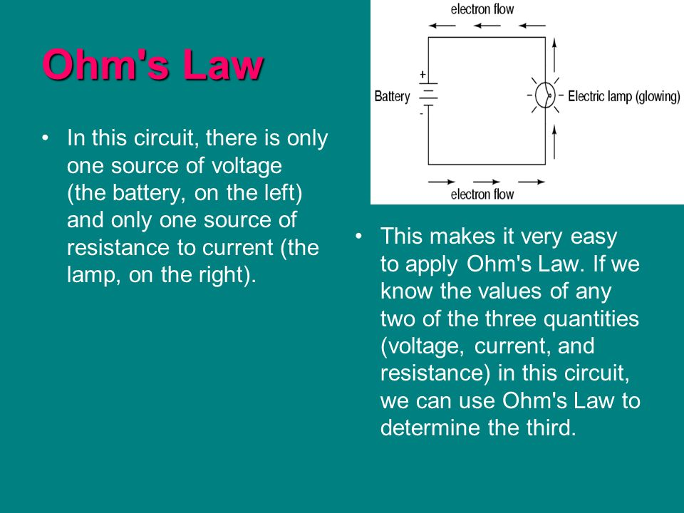 Ohm s Law In this circuit, there is only one source of voltage (the battery, on the left) and only one source of resistance to current (the lamp, on the right).