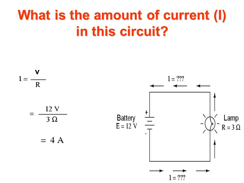What is the amount of current (I) in this circuit? v