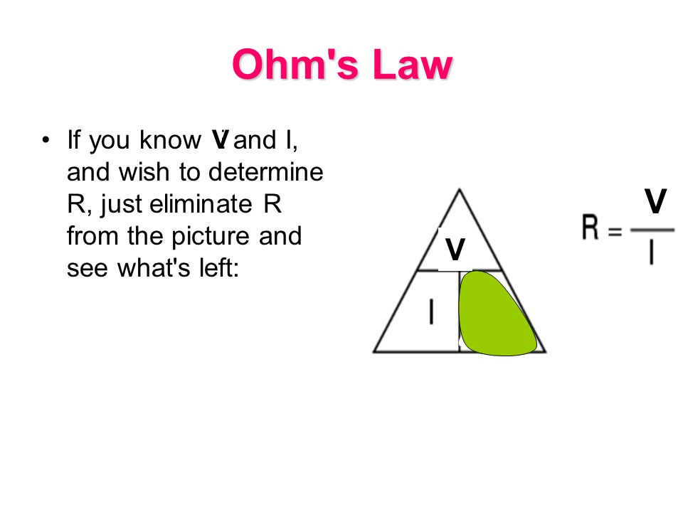 Ohm s Law If you know E and I, and wish to determine R, just eliminate R from the picture and see what s left: V V R V