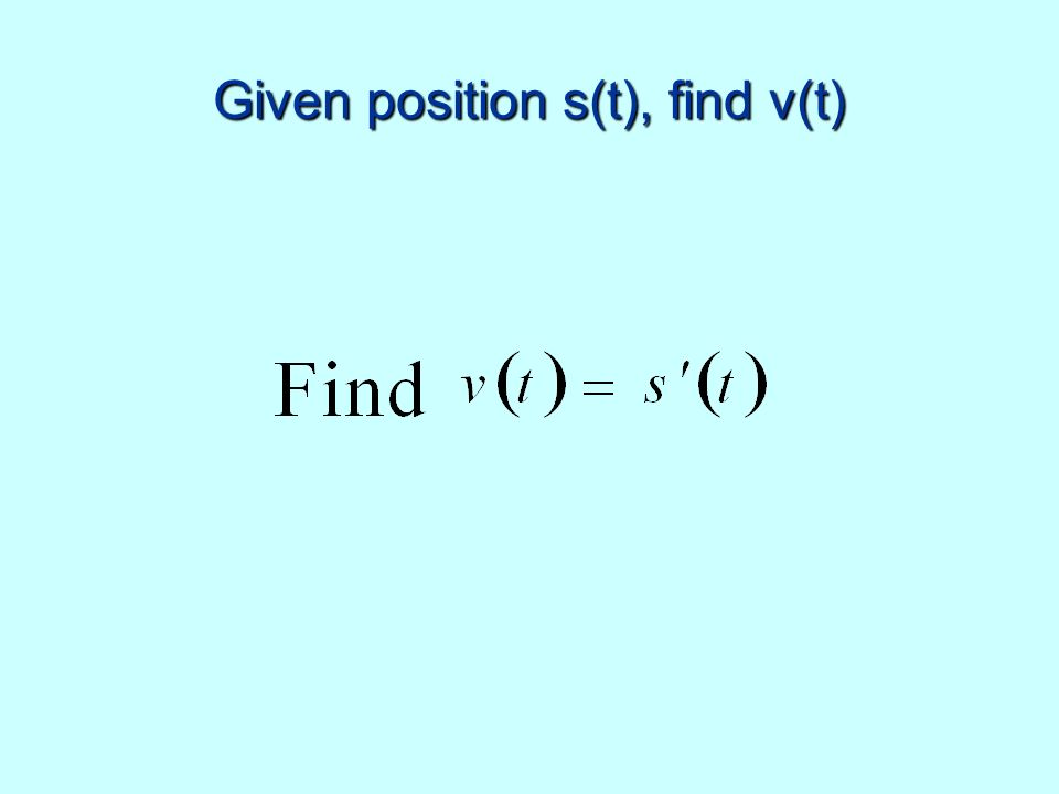 Given position s(t), find v(t)