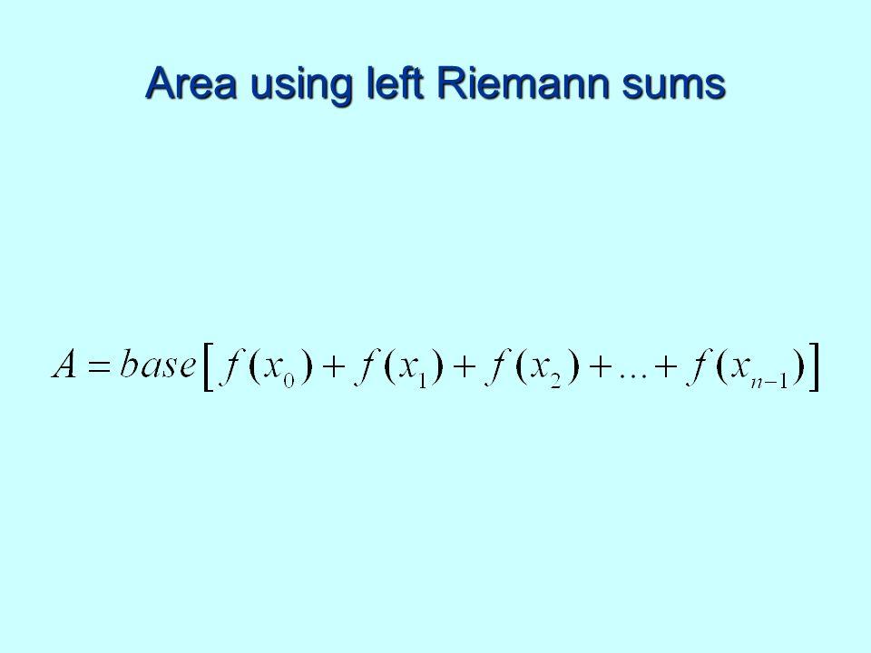 Area using left Riemann sums