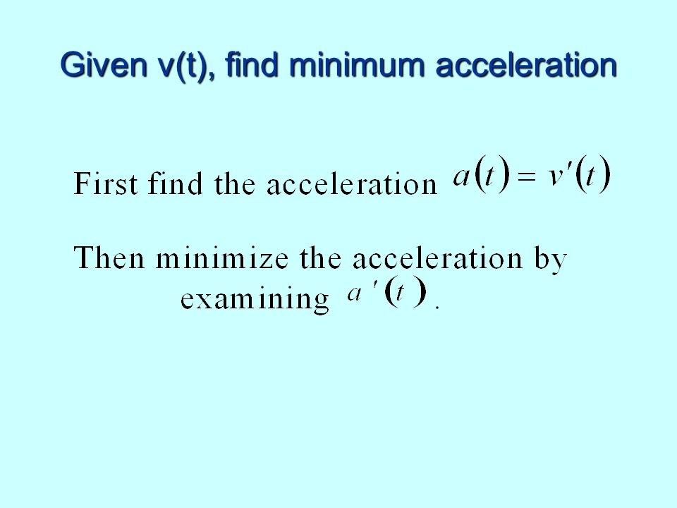 Given v(t), find minimum acceleration
