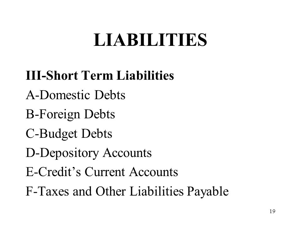 19 LIABILITIES III-Short Term Liabilities A-Domestic Debts B-Foreign Debts C-Budget Debts D-Depository Accounts E-Credits Current Accounts F-Taxes and