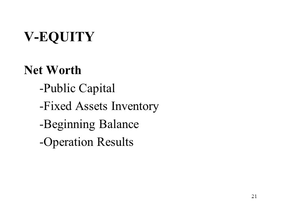 21 V-EQUITY Net Worth -Public Capital -Fixed Assets Inventory -Beginning Balance -Operation Results