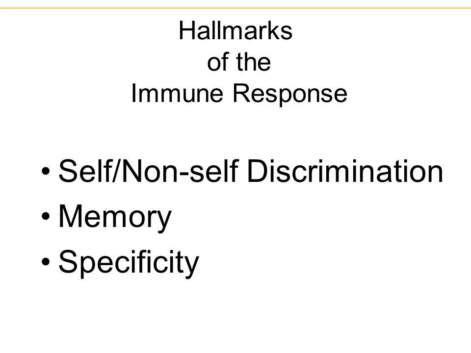 Hallmarks of the Immune Response Self/Non-self Discrimination Memory Specificity