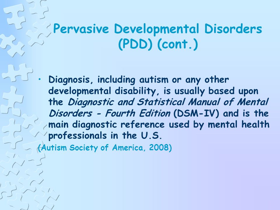 Pervasive Developmental Disorders (PDD) A category consisting of five neurological disorders characterized by severe and pervasive impairment in several areas of development (Autism Society of America, 2008)