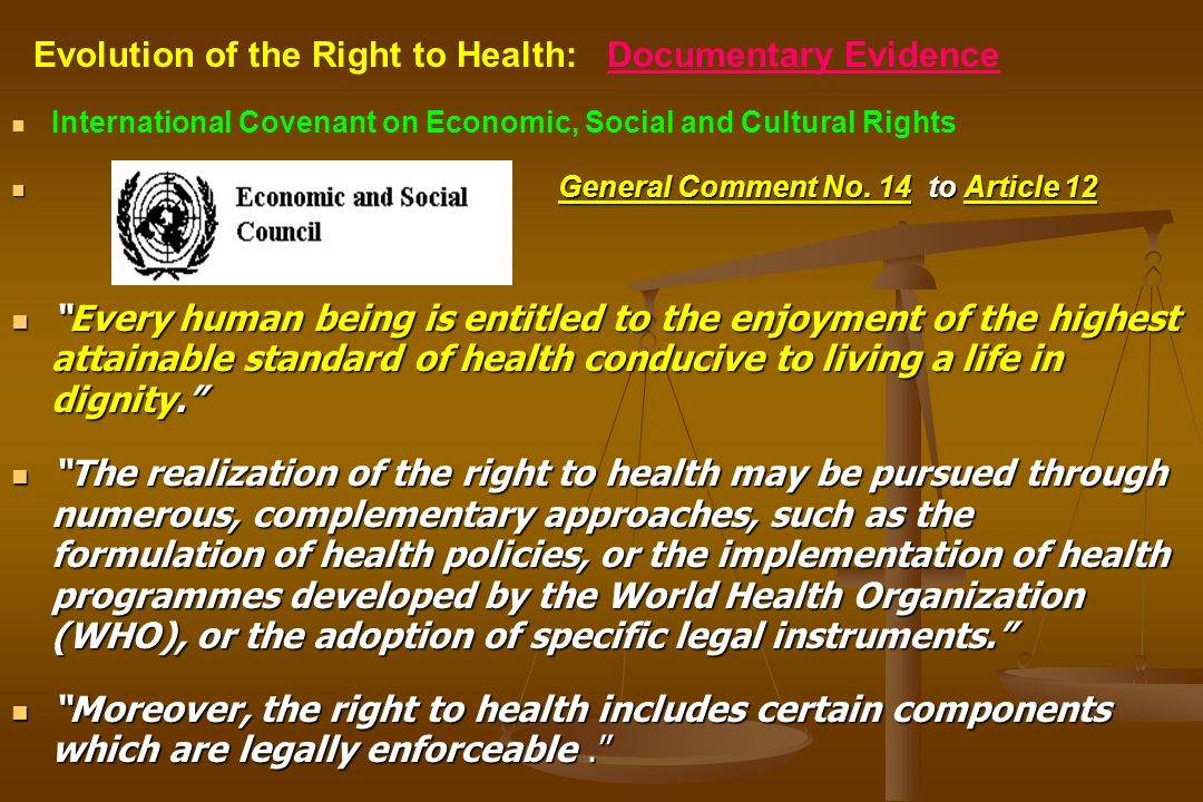 International Covenant on Economic, Social and Cultural Rights General Comment No. 14 to Article 12 Every human being is entitled to the enjoyment of
