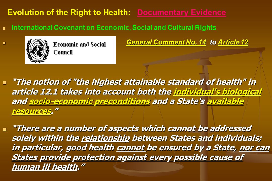 International Covenant on Economic, Social and Cultural Rights General Comment No. 14 to Article 12 The notion of