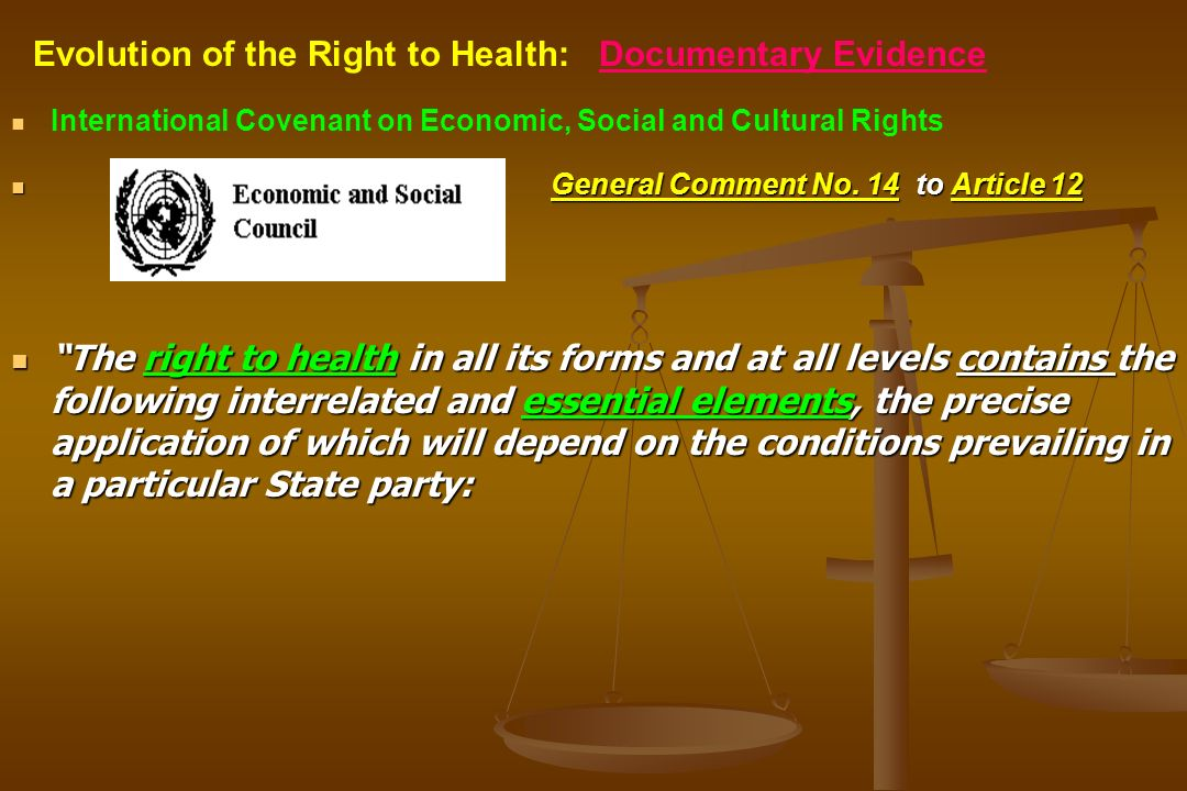 International Covenant on Economic, Social and Cultural Rights General Comment No. 14 to Article 12 The right to health in all its forms and at all le