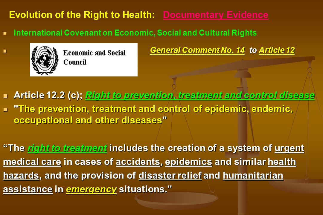 International Covenant on Economic, Social and Cultural Rights General Comment No. 14 to Article 12 Article 12.2 (c); Right to prevention, treatment a