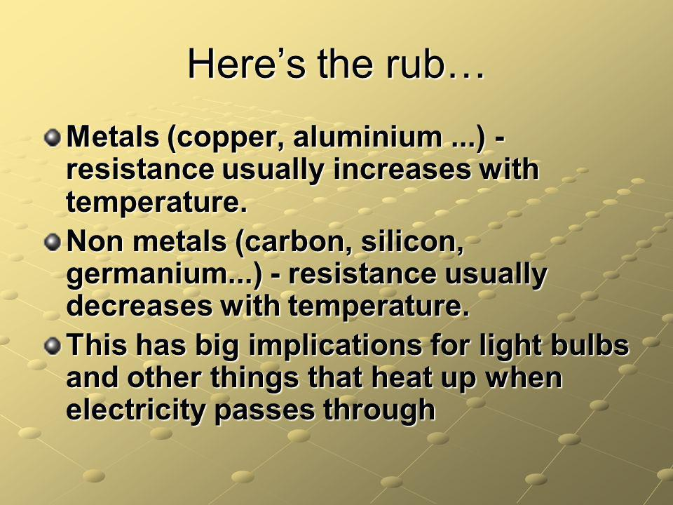 Heres the rub… Metals (copper, aluminium...) - resistance usually increases with temperature.