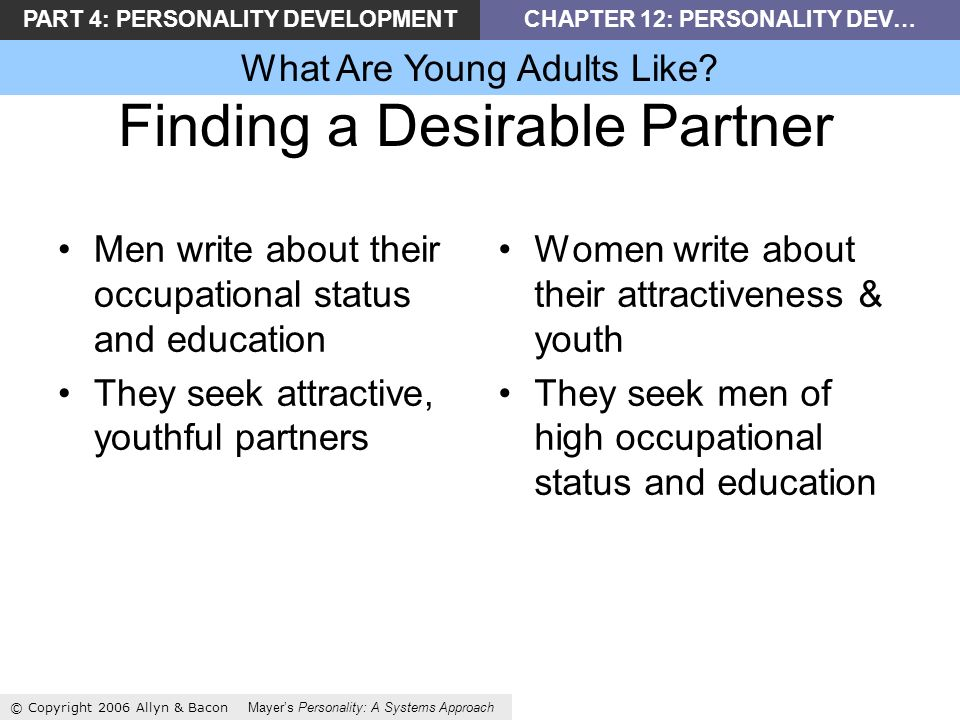 PART 4: PERSONALITY DEVELOPMENTCHAPTER 12: PERSONALITY DEV… What Are Young Adults Like.