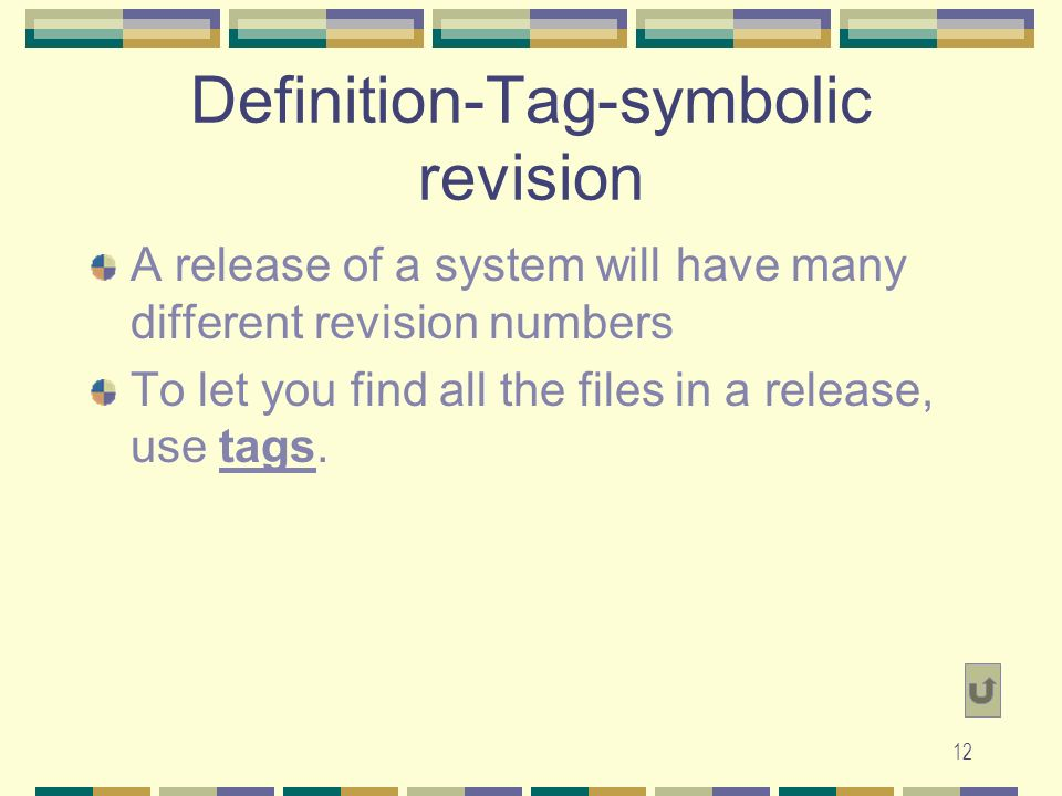 11 Definitions-Revision A revision is a version of a file that was committed ( checked in , in RCS terms) some time in the past.