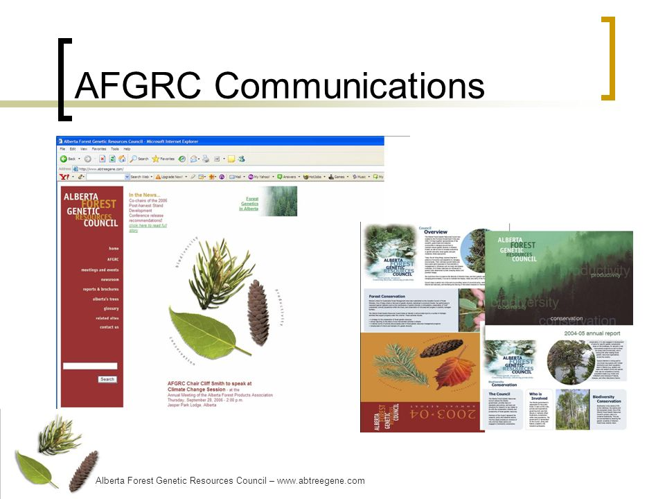 AFGRC Communications Alberta Forest Genetic Resources Council – www.abtreegene.com