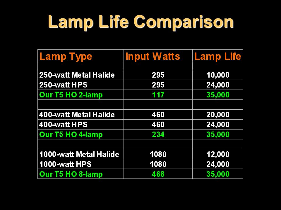 Lamp Life Comparison