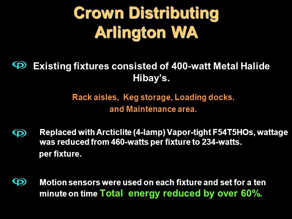 Crown Distributing Arlington WA Existing fixtures consisted of 400-watt Metal Halide Hibays. Rack aisles, Keg storage, Loading docks. and Maintenance