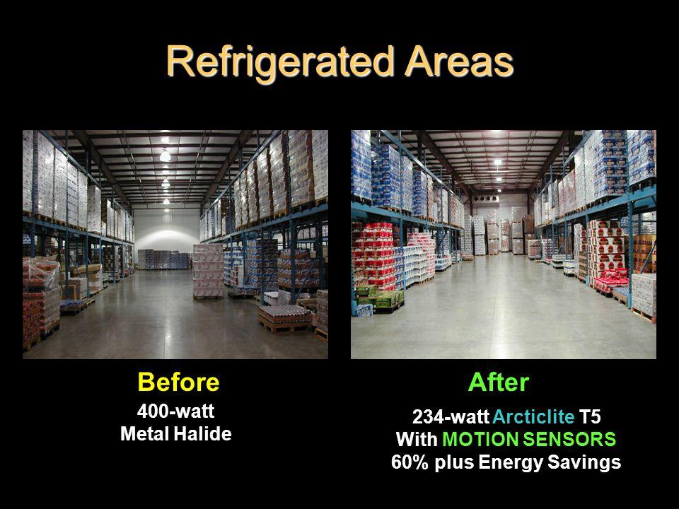 Refrigerated Areas BeforeAfter 234-watt Arcticlite T5 With MOTION SENSORS 60% plus Energy Savings 400-watt Metal Halide
