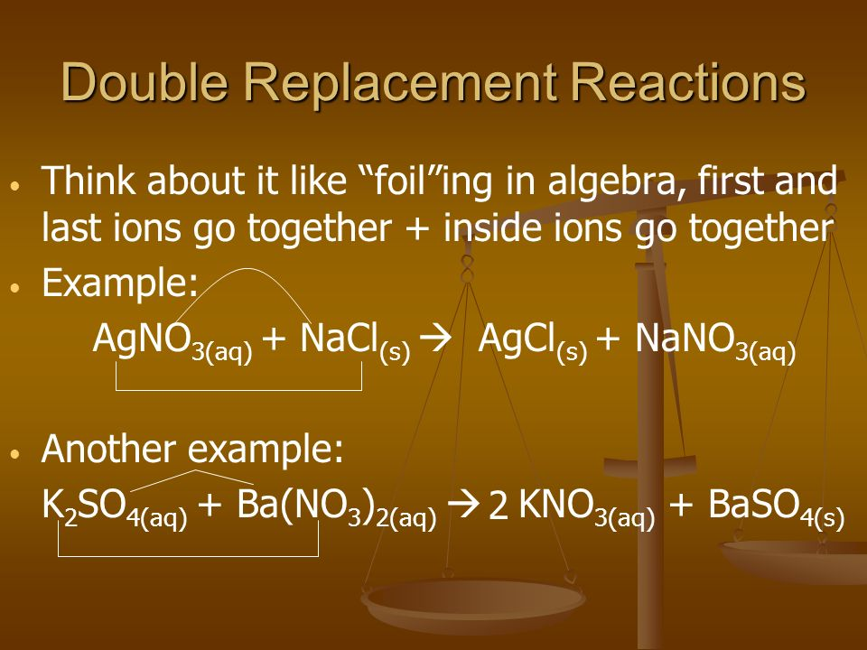 Double Replacement Reactions Think about it like foiling in algebra, first and last ions go together + inside ions go together Example: AgNO 3(aq) + N