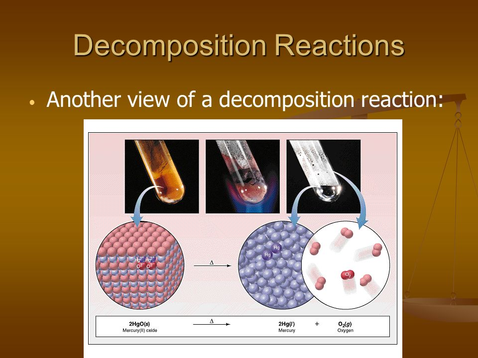 Decomposition Reactions Another view of a decomposition reaction: